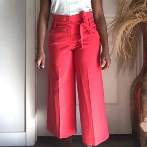 Hot pink tie waist trouser